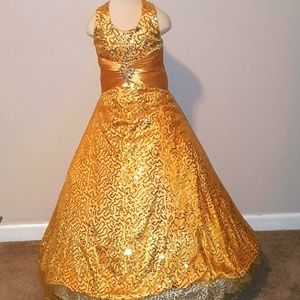 Used gold girls pageant gown
